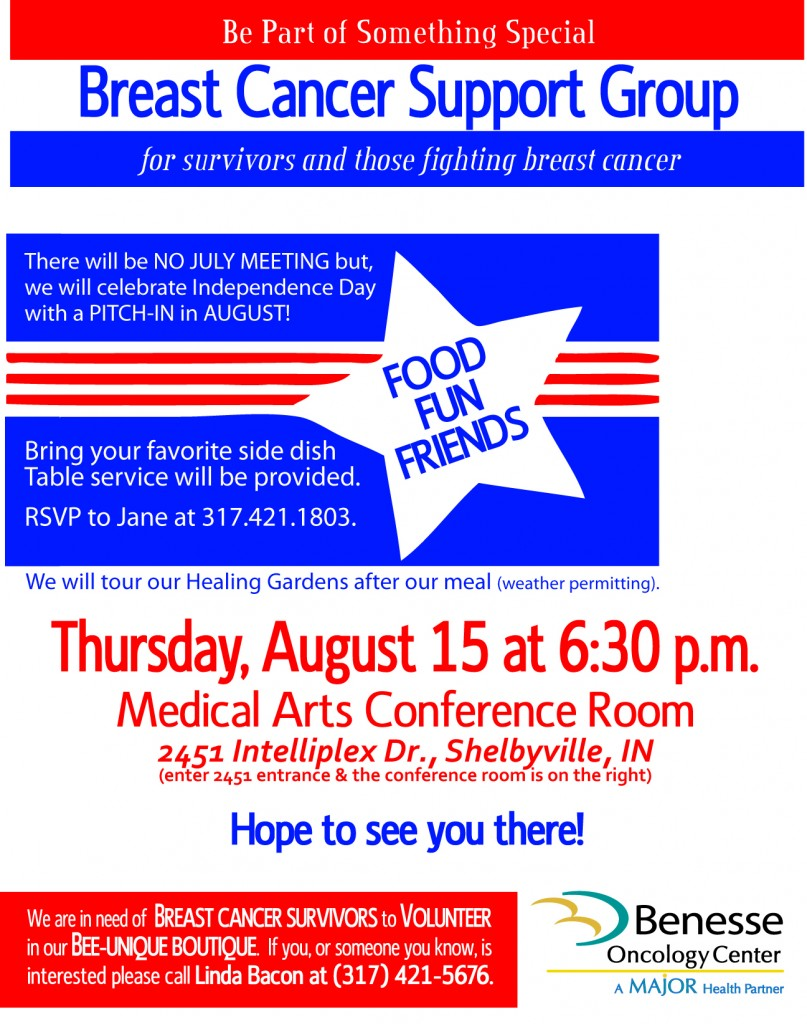 August Breast Cancer Support Group Pitch-in Flier